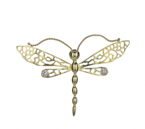 Dragonfly 18k Pin with Diamonds D001