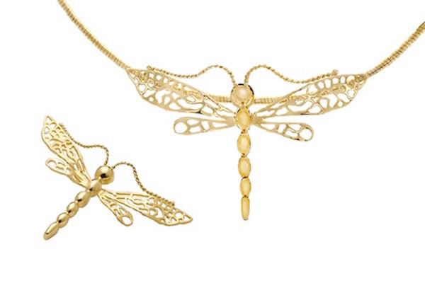 Dragonfly, 18k Gold Pin or Pendant D004