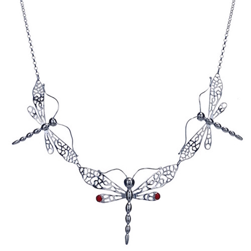Dragonfly, Sterling Silver trio Necklace with Gemstones D010