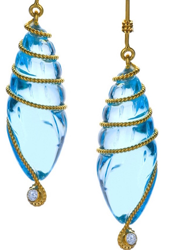 18K gold with blue topaz and diamonds E021