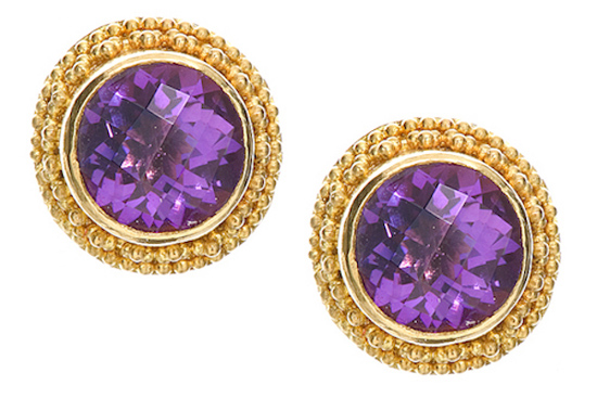 22k Gold granulation with Amethysts (post) E007 (SOLD)