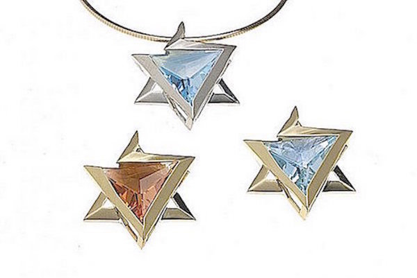 18K gold or Sterling silver, Star of David,  Choice of Blue Topaz, Citrine PN004