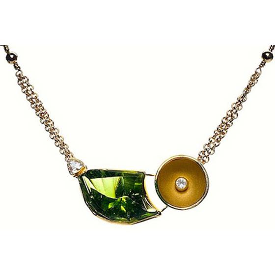18k gold , peridot, diamond and sapphire. (SOLD)