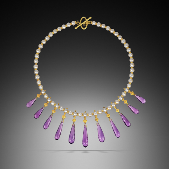 "Diva, 18k gold, pearls, and faceted amethyst 18"" with earrings (# 365)"