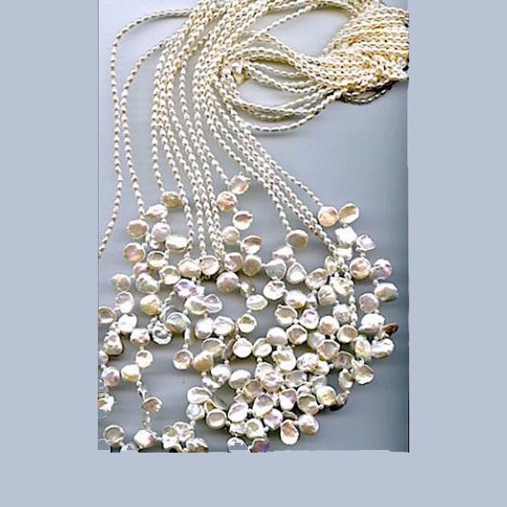 Multi strand freshwater keshi pearls Lariat