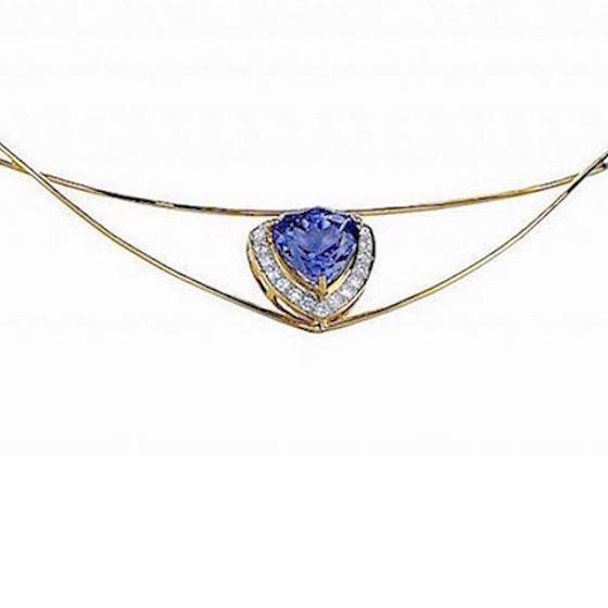 Tanzanite Necklace, 18k gold and diamonds (# 610)