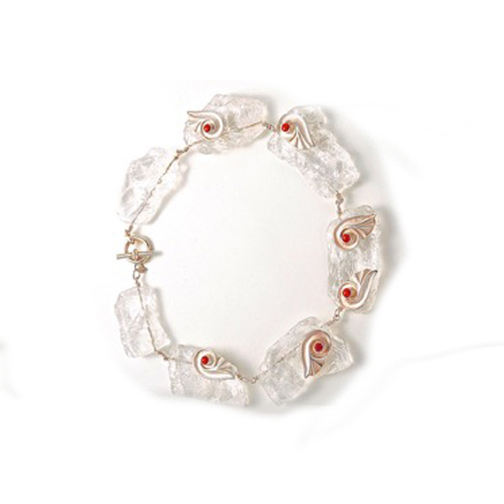 Ice necklace sterling silver quartz and red coral (# 1038)