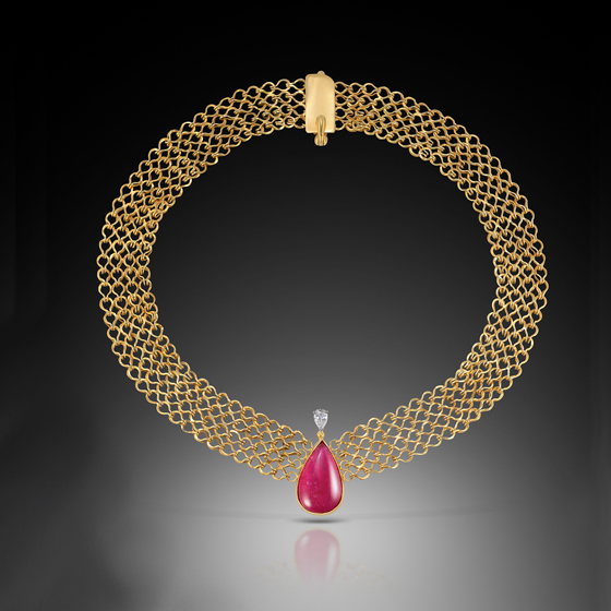 India 18k gold hand made chain rubellite and diamond (# 504)