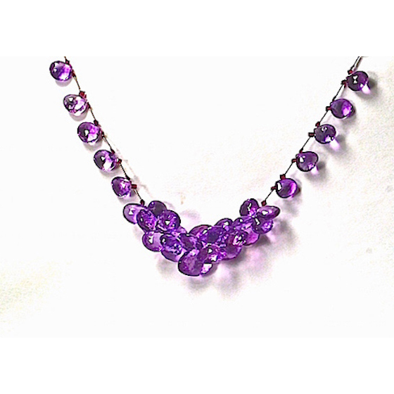 Grape Necklace, 14k white gold amethyst graduated briolettes (# 770)