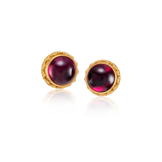 22 karat gold granulation earrings with rubellite
