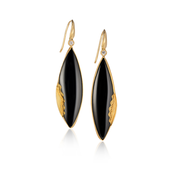 22 karat gold earrings with black onyx and diamonds, 18k gold hooks