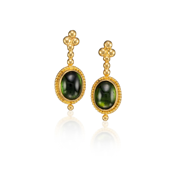 22 karat gold with green peridot 18k gold post