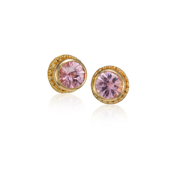 22 karat gold with pink tourmalines 18k gold posts