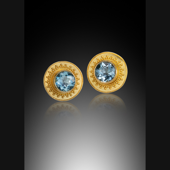22 karat gold granulation with aquamarine