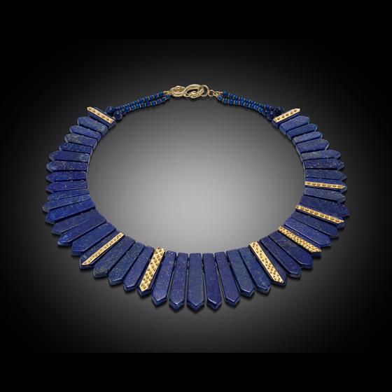 Blue Nile Necklace, 22k gold granulation and 18k gold Egyptian clasp, Lapis Lazuli (# 1370)