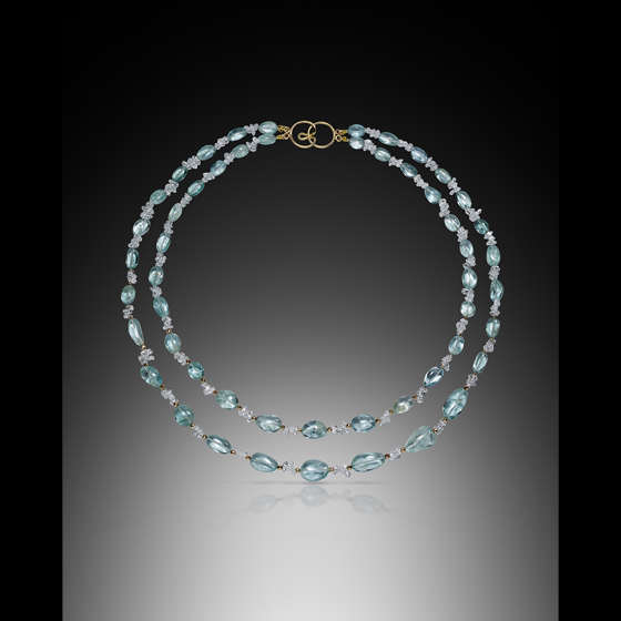 14 karat gold beads and clasp necklace with aquamarine and Herkimer diamonds