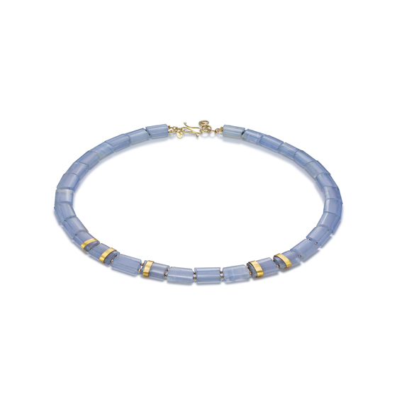 Blue Horizon Necklace 18 karat gold spacers and clasp with Blue Chalcedony