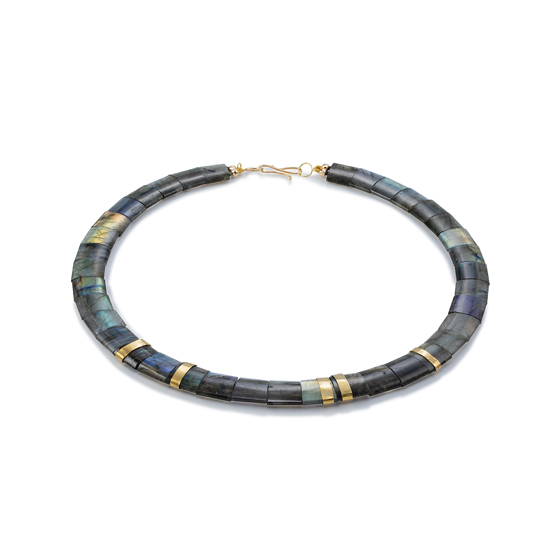 18k gold spacers and clasp Labradorite necklace (#1408)