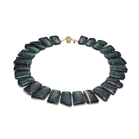 Emerald Necklace, Emerald Matrix Slices, 14k Gold, 14k gold magnetic clasp (#1407)