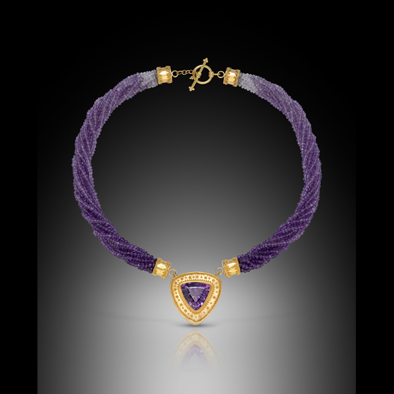Kathy Necklace, 22k granulation and 18k gold with amethyst center stone and graduated color amethyst beads (# 1239)