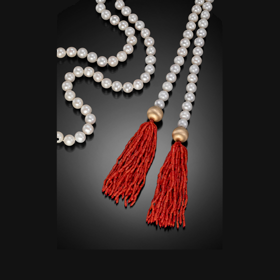 "Red, White and Gold Lariat (63""), 14k gold, freshwater pearls and coral (# LL 103)"