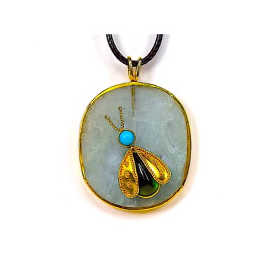 Pendant, 22k granulated wings and 18k Gold ,aquamarine, turquoise head peridot body (# 5)
