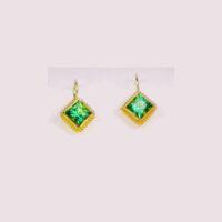 22 karat granulated earrings with mint tourmaline. ( very rare)
