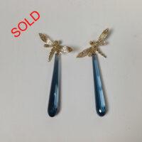 18 karat dragon fly drop earrings, topaz gemstone (Sold)