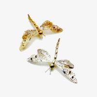 18 karat large dragon fly pin with diamonds. Sterling silver large dragon fly pin with garnets