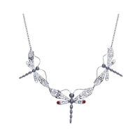 Sterling silver dragon fly trio necklace with coral