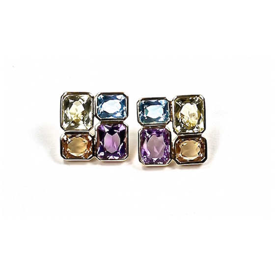 18 karat post earrings , amethyst, blue topaz, citrine and quartz