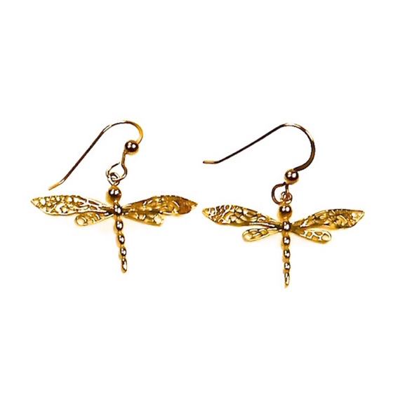 18k Gold Dragon Fly Earrings available in 14 k Gold and Sterling Silver, with posts or hooks