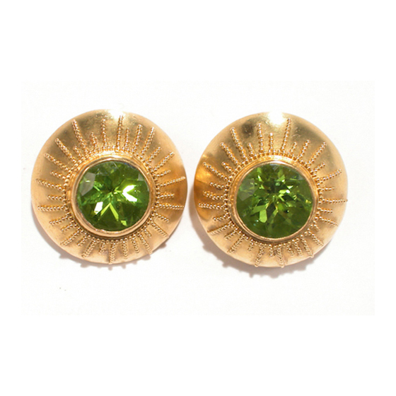 22 Karat gold granulated domes, peridot gemstone