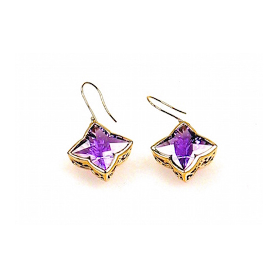 18 karat gold with lace sides amethyst