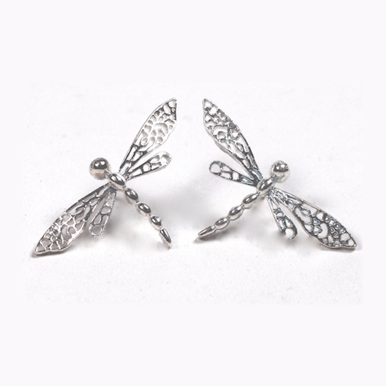 Silver Dragon Fly Earrings available in 18k and 14k gold, with posts or hooks