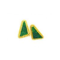 22 karat granulated green druzy earrings