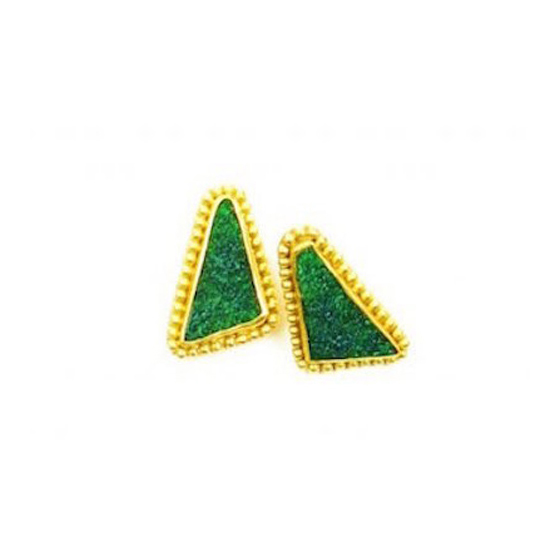 22k Gold Granulated Green Uvarovite Druzy Earrings, 18k gold posts
