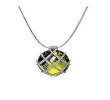 18 karat white gold, lemon quartz and diamonds, chain sold separately