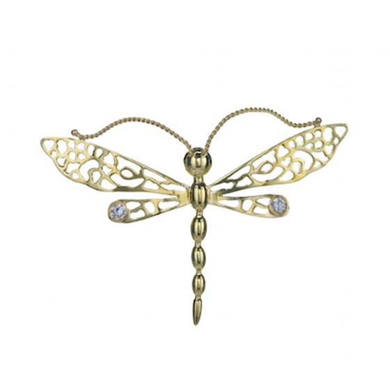 Dragon Fly Pin, 18k gold with diamonds