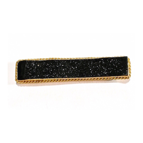 Black Druzy Bar Pin, 22k gold