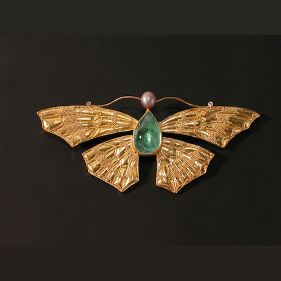Moth Pin, 22k gold granulation, south sea pearl head, aquamarine body, diamond antenna