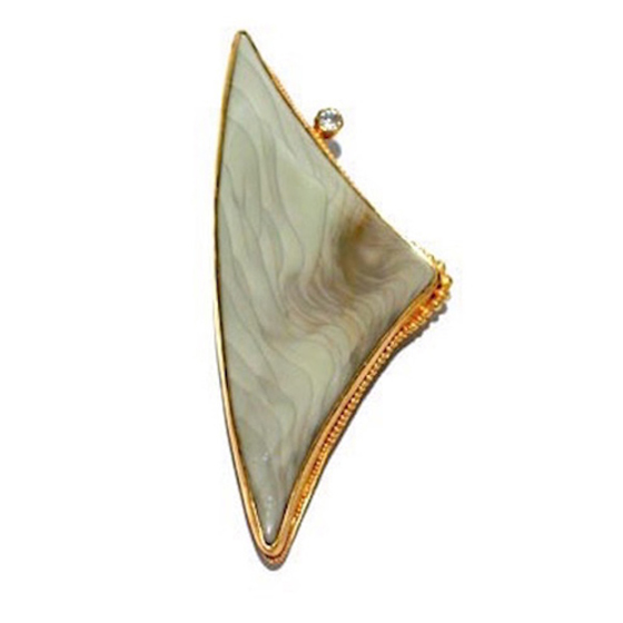Picture Jasper Pin, 22k gold granulation with diamond