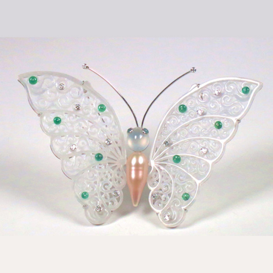 Iced Butterfly Pin Pendant, with carved jade wings, pearl, emeralds and diamonds