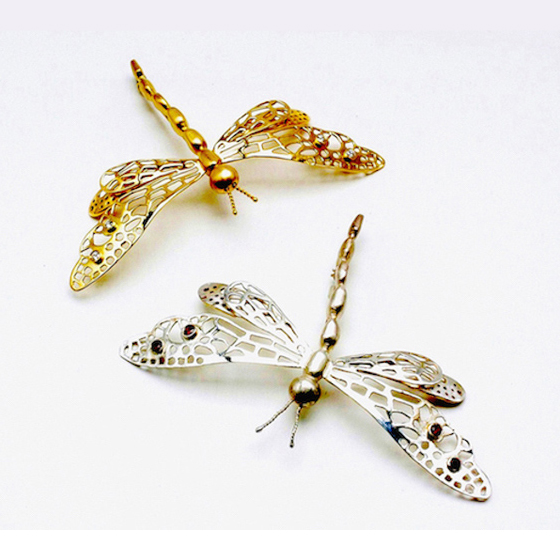 Dragon Fly Pins, 18k gold with diamonds, and sterling silver with garnets
