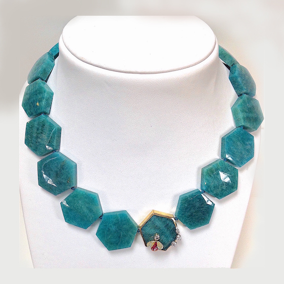 Amazonite hexagonal Bead Necklace, 22 k granulation, bug with green and pink sapphire and diamonds , with earrings (#1178)