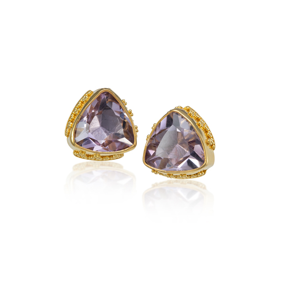 22k gold granulation Rose De France earrings, 18k post
