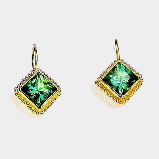 22k gold granulation Earrings, with Mint Tourmaline (very rare), 18k gold hook (# 1229)
