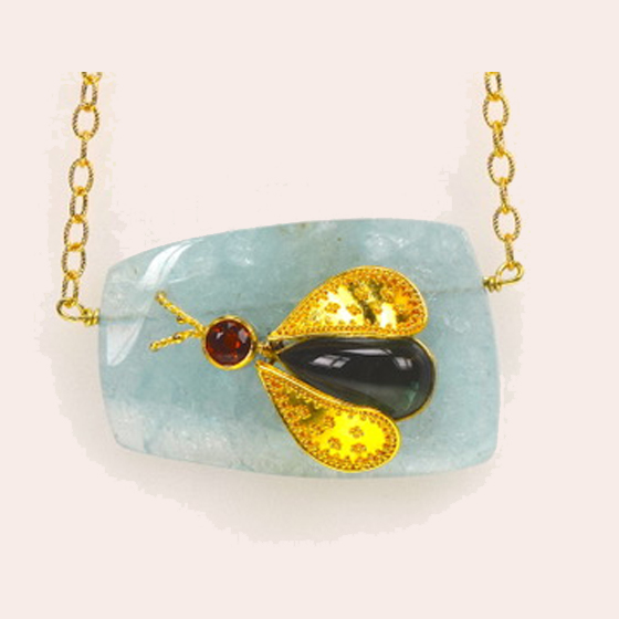 Pendant, 22k granulated wings and 18k Gold, Aquamarine Slice, Tourmaline Body, Garnet Head, and 18k Gold Chain included (# 1)
