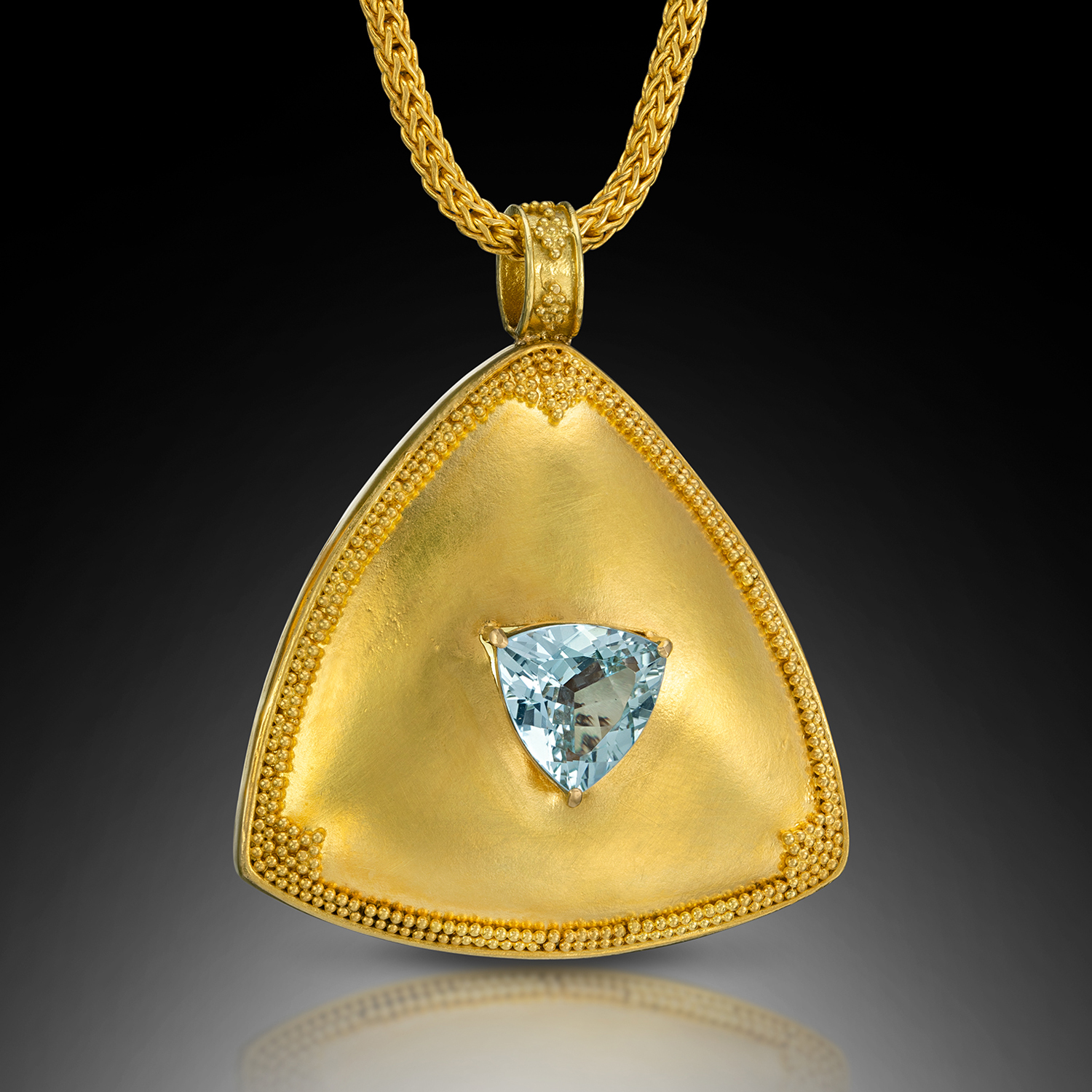 Cleopatra Pendant, 22k granulated and 18k gold and aquamarine, chain sold separately (# 1172)