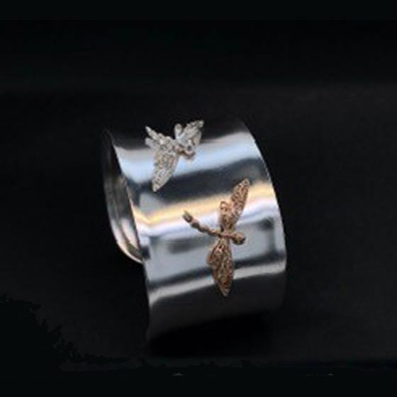Dragon Fly bracelet sterling silver cuff one sterling silver and one 14k gold dragon fly